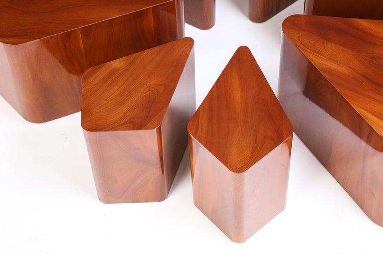 Set of Seven Petal-Form Side Tables, Designed by Juan Montoya, Modern For Sale 2