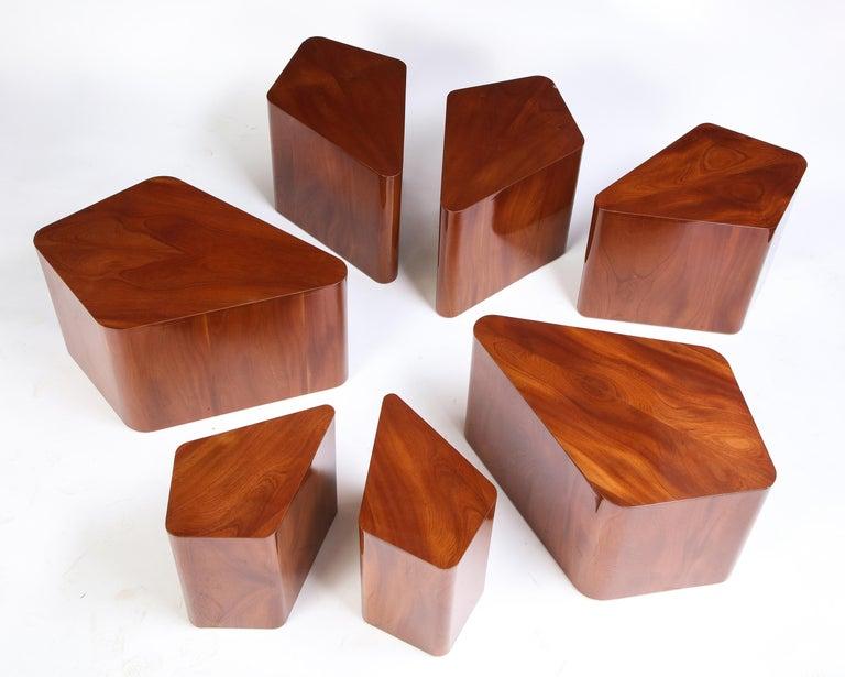 Set of Seven Petal-Form Side Tables, Designed by Juan Montoya, Modern For Sale 3