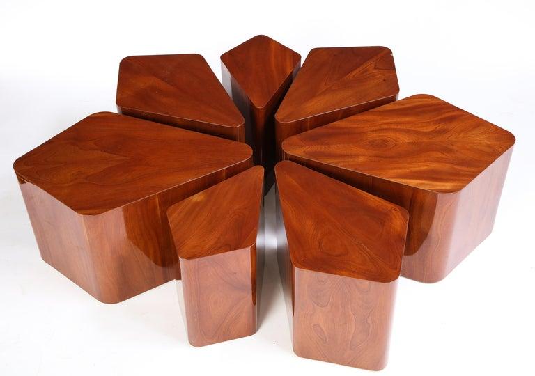Set of Seven Petal-Form Side Tables, Designed by Juan Montoya, Modern For Sale 5