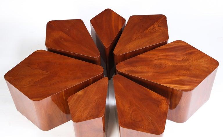 Set of Seven Petal-Form Side Tables, Designed by Juan Montoya, Modern For Sale 6