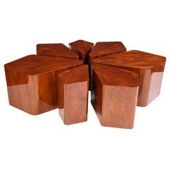 Set of Seven Petal-Form Side Tables, Designed by Juan Montoya, Modern