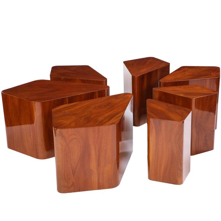 Set of Seven Petal-Form Side Tables, Designed by Juan Montoya, Modern For Sale