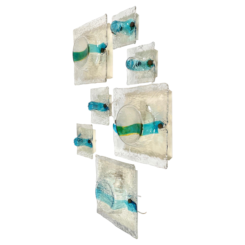 Set of Seven Sconces in Murano Glass Toni Zuccheri for Venini, Italy, 1960s