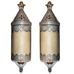 Set of Seven Silvered Metal Sconces