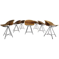 Set of Seven Stunning Architectural Italian 1950s Rattan Chairs