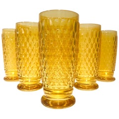 Set of Seven Villeroy & Boch Crystal Highball Glasses in Amber Yellow circa 2005