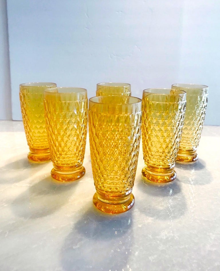 Mid-Century Modern Set of Seven Vintage Villeroy & Boch Crystal Highball Glasses in Amber For Sale