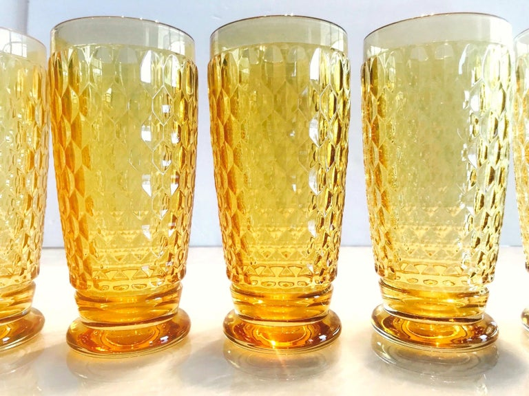 German Set of Seven Vintage Villeroy & Boch Crystal Highball Glasses in Amber For Sale