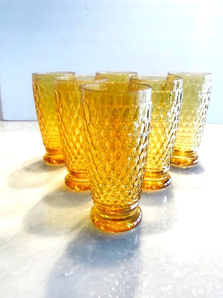 Set of Seven Vintage Villeroy & Boch Crystal Highball Glasses in Amber For Sale 1