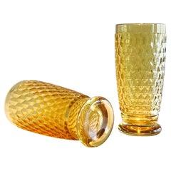 Set of Seven Vintage Villeroy & Boch Crystal Highball Glasses in Amber