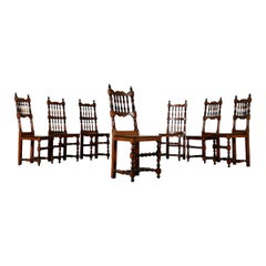 Set of Seven Walnut Chairs, Italy, 18th Century