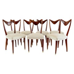 Set of Seven Walnut Dining Room Chairs by Arch, Carlo Enrico Rava, Milano, 1940