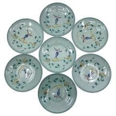 Set of Seven Wedgwood Apprey Celadon Saucers