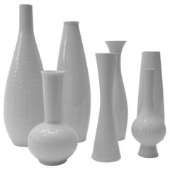 Set of Seven White Porcelain Vases, Germany,  1970s