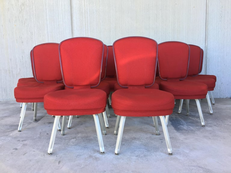 Super cool and equally comfortable conference or desk chairs from Gasser chair Company probably late 2007s. Came out of the Monte Picayo Casino in Valencia, Spain. Solid and sturdy, wool in a vibrant red color in excellent condition. Solid and