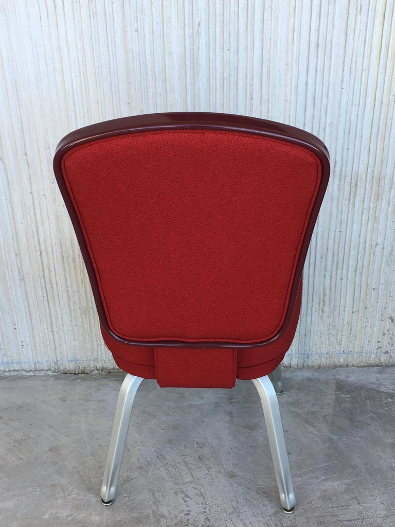 Metal Set of Seventeen Conference or Dining Chairs in Steel and Red Wool For Sale