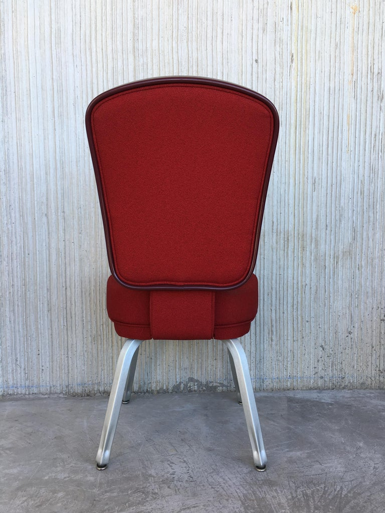 Set of Seventeen Conference or Dining Chairs in Steel and Red Wool For Sale 2