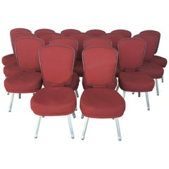 Set of Seventeen Conference or Dining Chairs in Steel and Red Wool