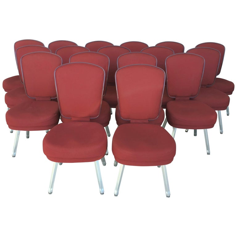 Set of Seventeen Conference or Dining Chairs in Steel and Red Wool For Sale