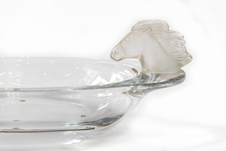 Mid-Century Modern Set of Sevres Crystal Bowls Decorated with Horse Heads For Sale