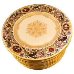 Set of Sevres Louis-Philippe Hunt Plates Made for the Chateau de Fontainebleau