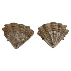 Set of Shell Shaped Silver Plated Sconces, Sold Per Pair
