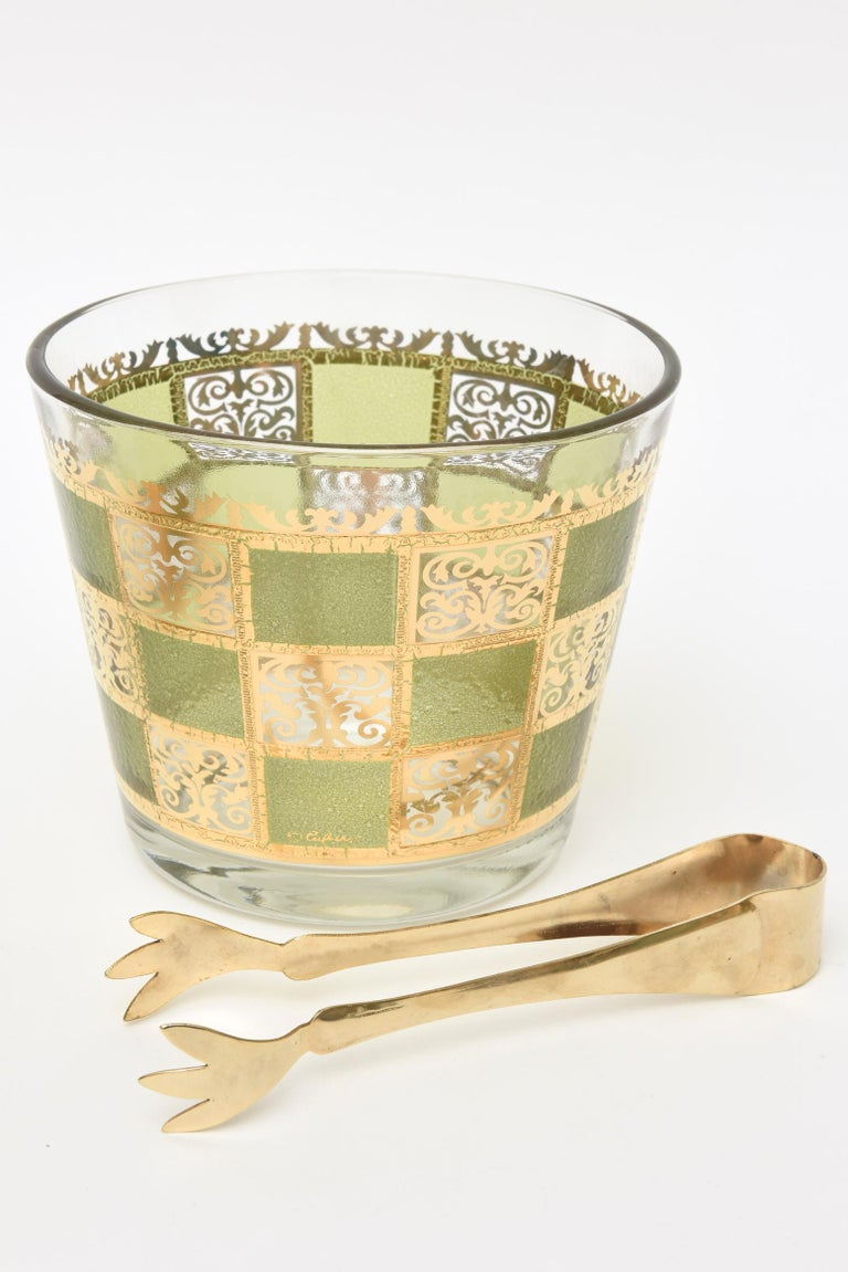 Set of Signed Culver Mid-Century Modern Glass and Gold Painted Barware For Sale 2