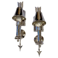 """Set of Silver Plated """"Drum"""" Sconces, Sold Per Pair"""