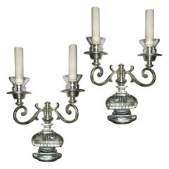 Set of Silver-Plated French Sconces, Sold in Pairs