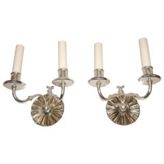 Set of Silver Plated Mirrored Sconces, Sold Per Pair