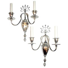 Set of Silver Plated Neoclassic Sconces, Sold Per Pair