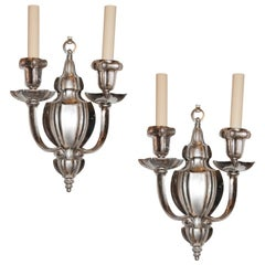 Set of Silver Plated Sconces, Sold Per Pair