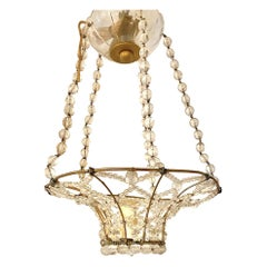 Set of Single-Light Crystal Basket Light Fixtures, Sold Individually