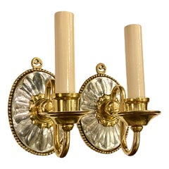 Set of Single Light Molded Glass Sconces, Sold per Pair