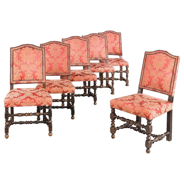 Set of Six 17th Century Style Walnut Chairs For Sale
