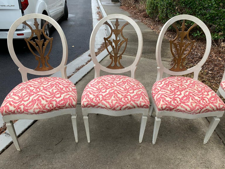 Hand-Painted Set of Six 18th-19th Century Italian Painted Side Chairs, Custom Finish For Sale