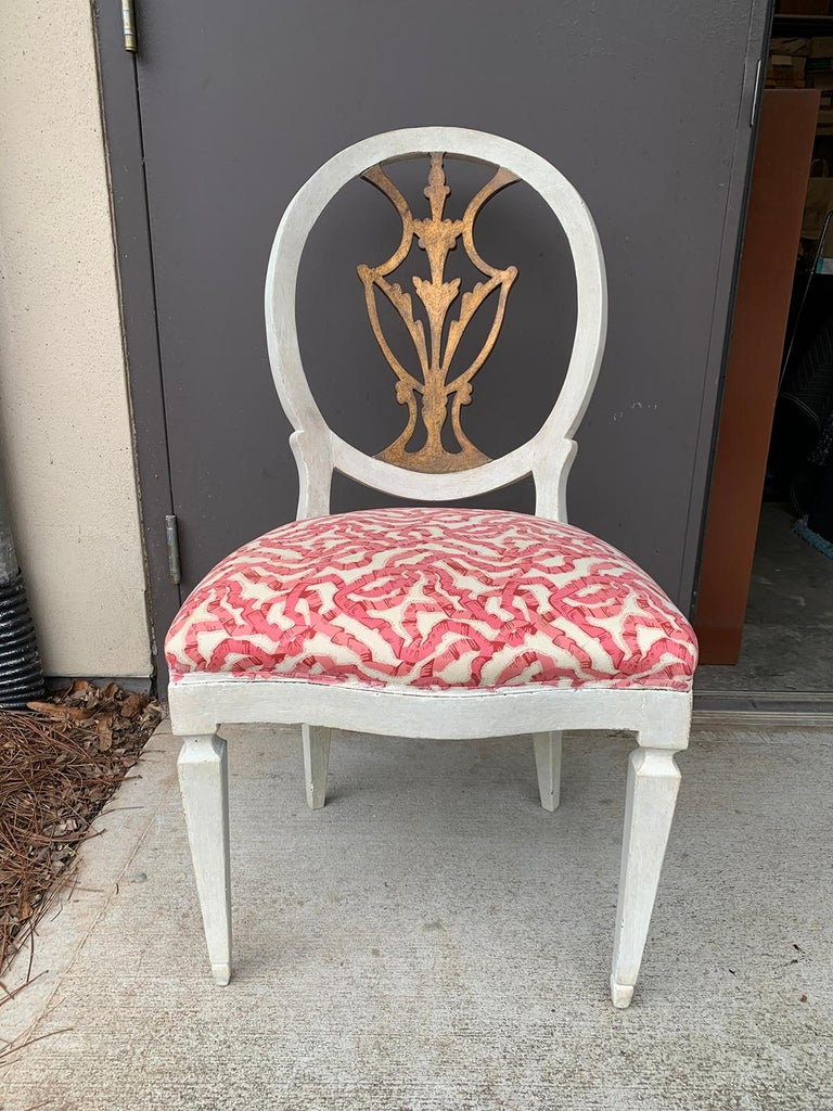 Wood Set of Six 18th-19th Century Italian Painted Side Chairs, Custom Finish For Sale