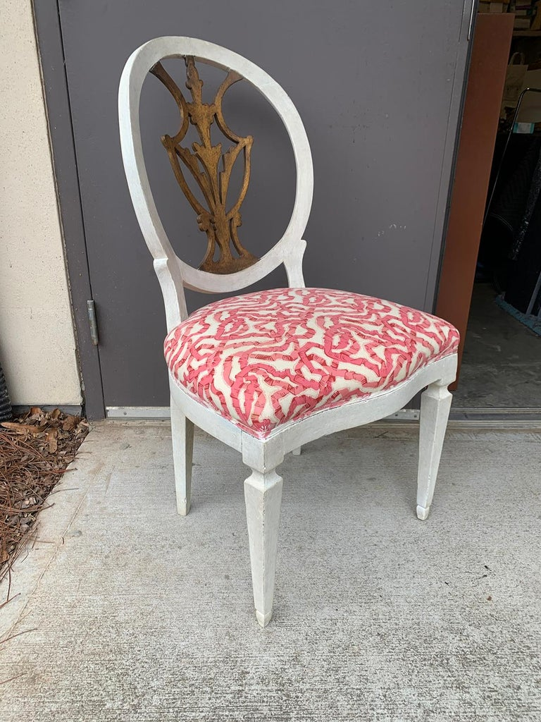 Set of Six 18th-19th Century Italian Painted Side Chairs, Custom Finish For Sale 1