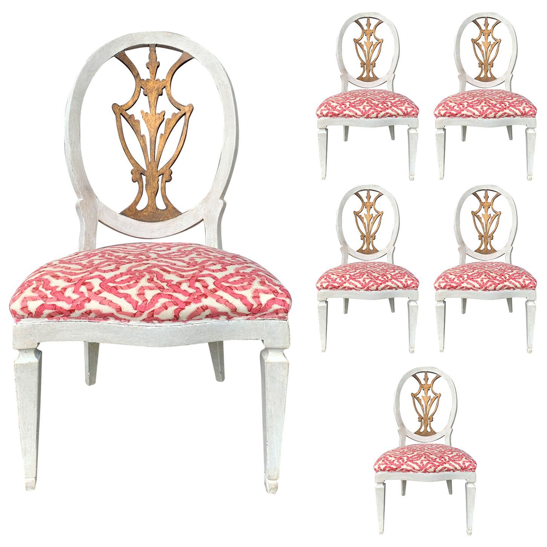 Set of Six 18th-19th Century Italian Painted Side Chairs, Custom Finish