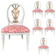 Set of Six 18th-19th Century Italian Painted Side Chairs, Custom Finish