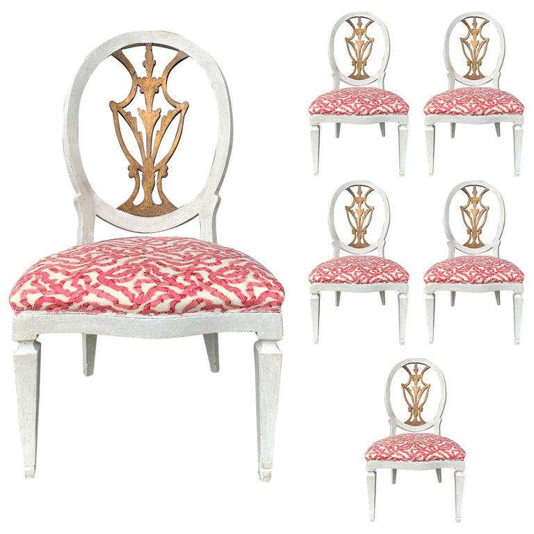 Set of Six 18th-19th Century Italian Painted Side Chairs, Custom Finish For Sale
