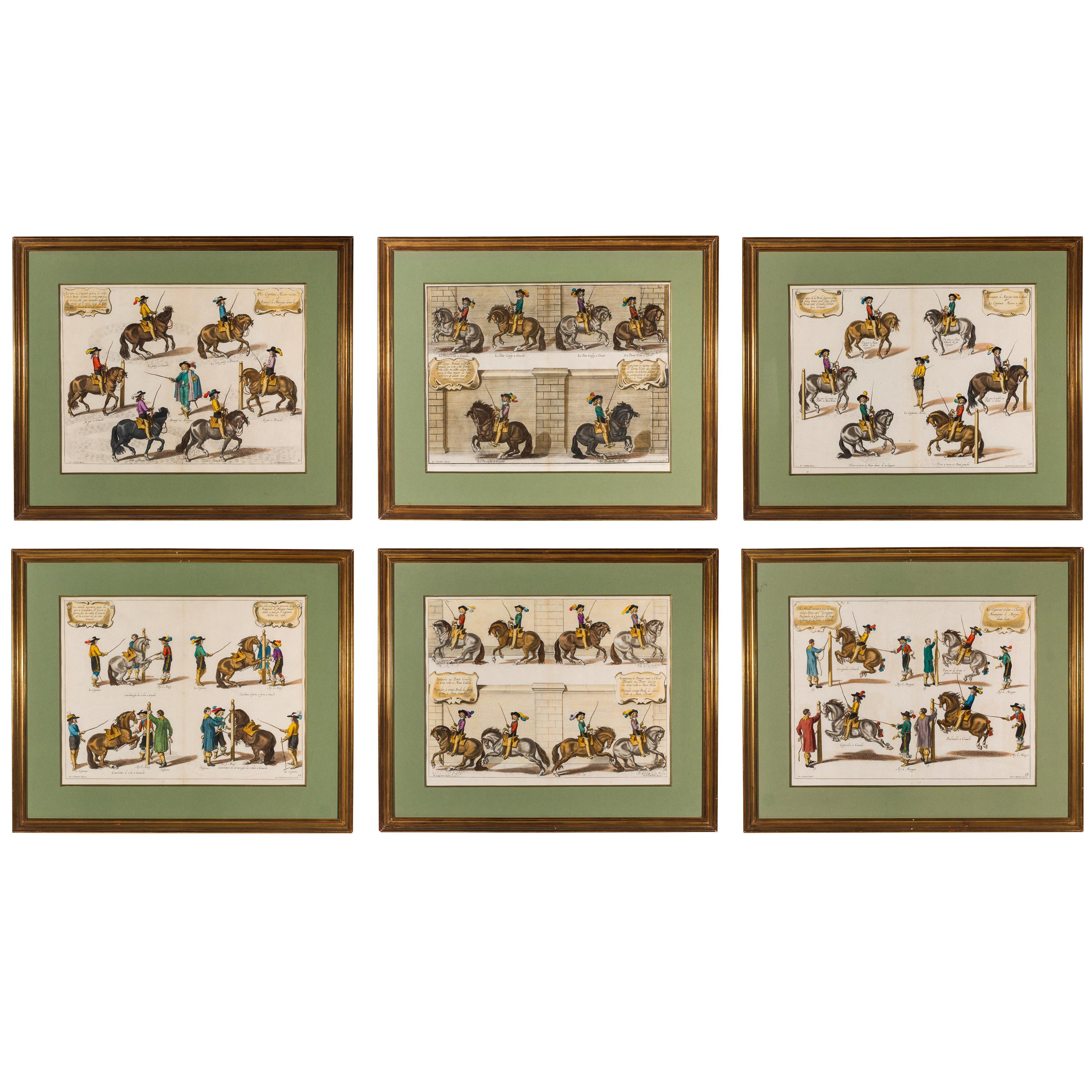Set of Six 18th Century Equestrian Engravings of Dressage, after Diepenbeeck