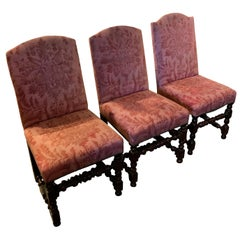 Set of Six 18th Century French Walnut Upholstered Dining Chair