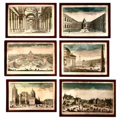 Set of Six 18th Century Hand Colored Engravings