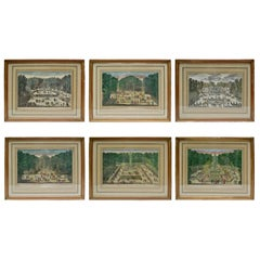 Set of Six 18th Century Hand Colored Engravings of the Gardens at Versailles