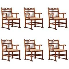 Set of Six 18th Century Hardwood 'Drunkard's Chairs'