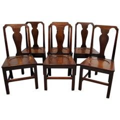 Set of Six 18th Century Mahogany Hall Chairs