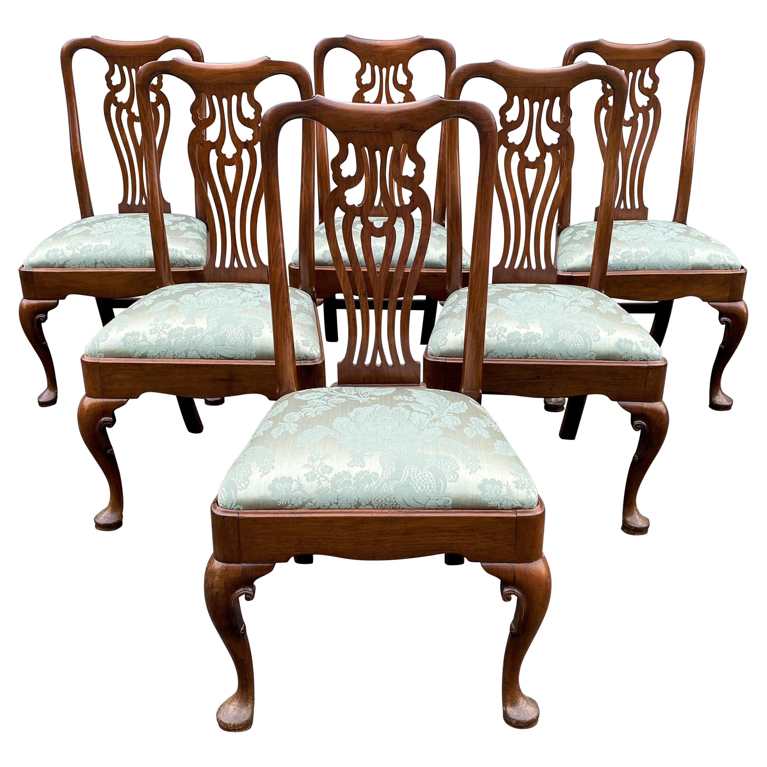 Set of Six 18th Century Queen Anne Walnut Dining or Side Chairs