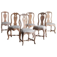 Set of Six 18th Century Swedish Rococo Chairs