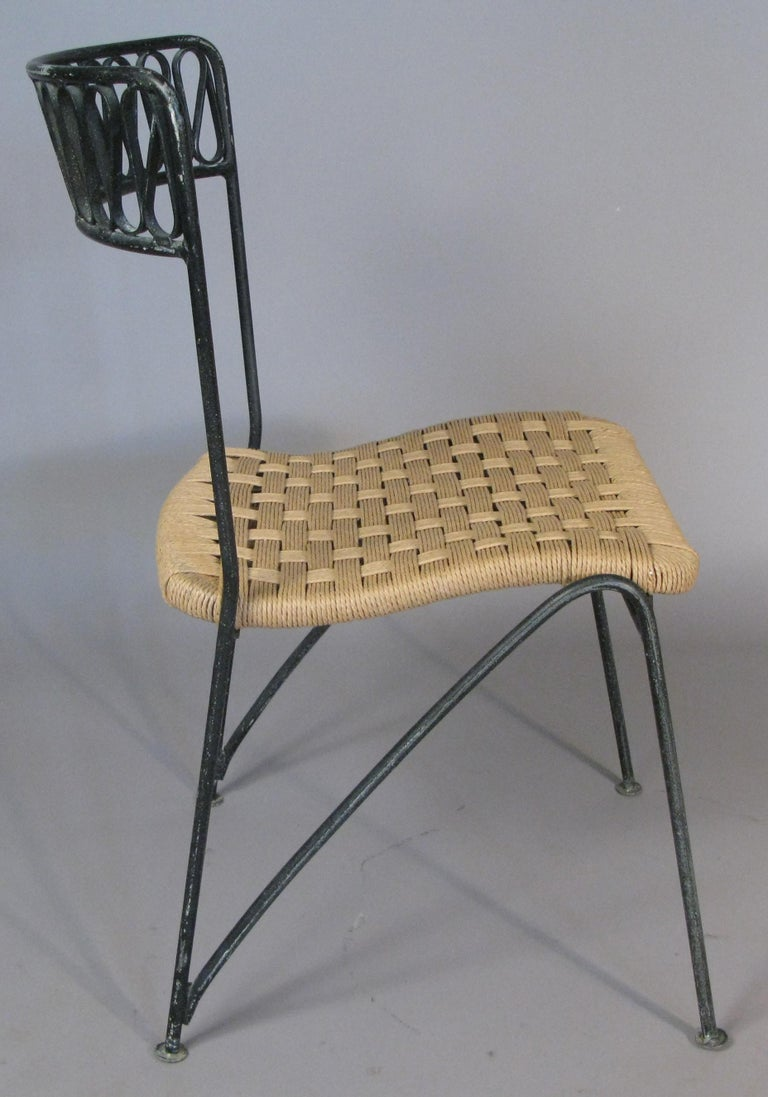 Wrought Iron Set of Six 1950s Dining Chairs by Tempestini for Salterini For Sale